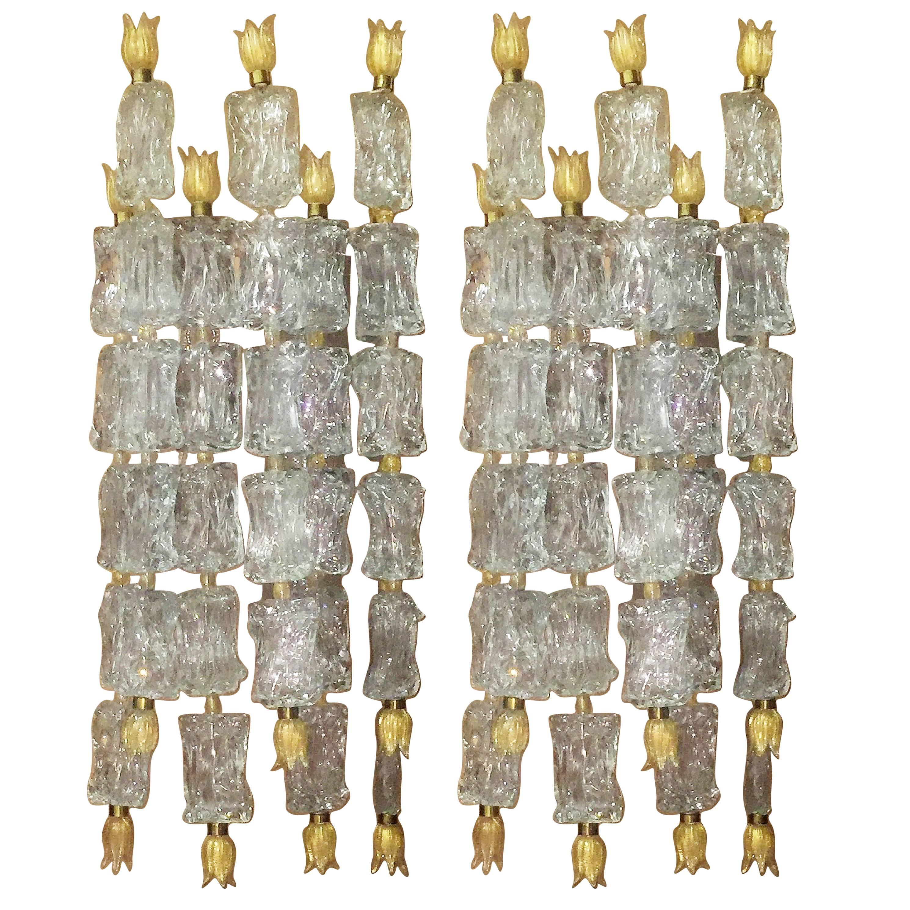 Pair of Monumental Wall Sconces by Barovier Toso, circa 1950s