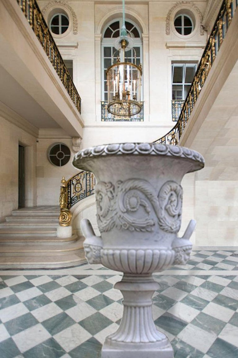 Pair of Monumental White Marble Vases For Sale 4