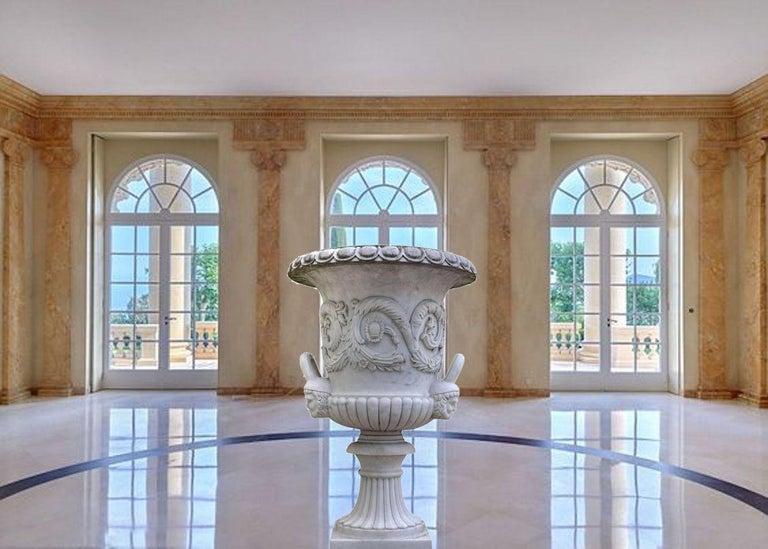 Pair of Monumental White Marble Vases For Sale 5