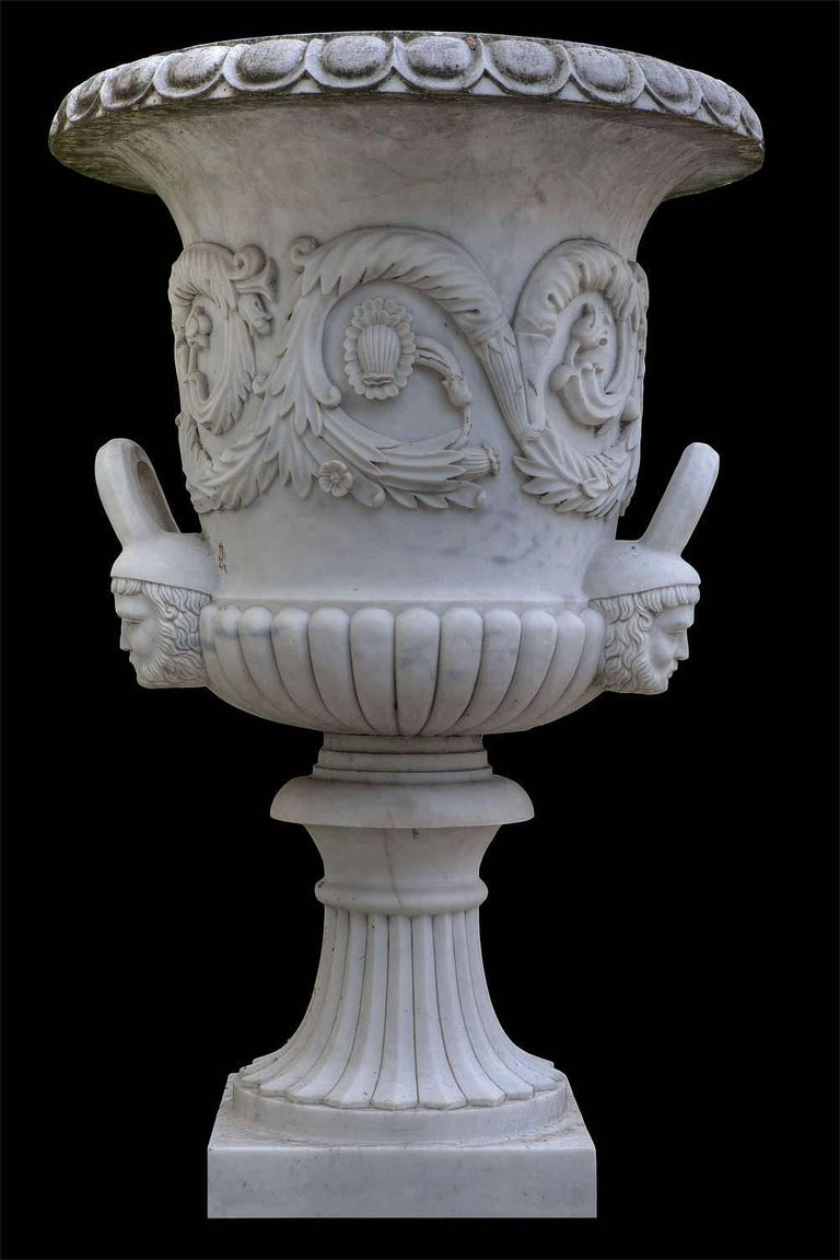 Neoclassical Pair of Monumental White Marble Vases For Sale