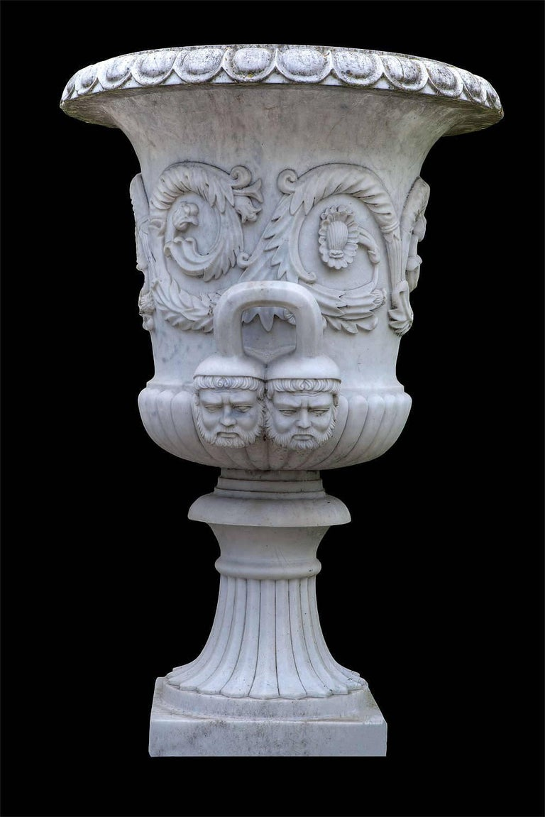 20th Century Pair of Monumental White Marble Vases For Sale