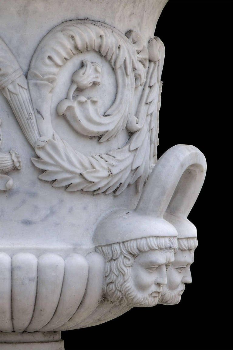Carrara Marble Pair of Monumental White Marble Vases For Sale