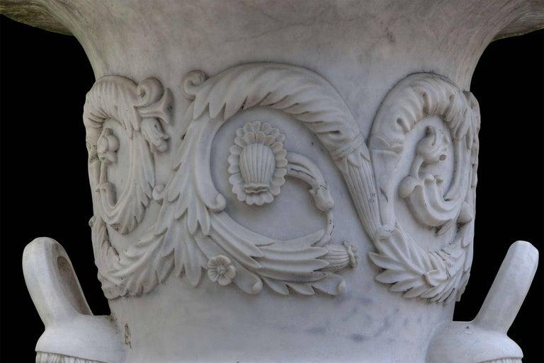 Pair of Monumental White Marble Vases For Sale 1