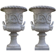Pair of Monumental White Marble Vases