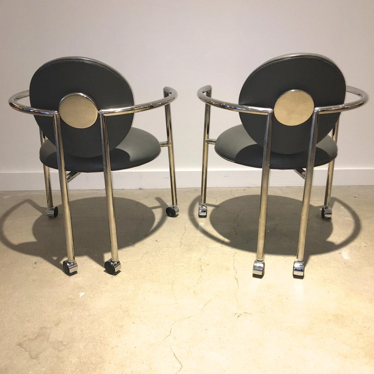 Post-Modern Pair of Moon Chairs by Stanley Jay Friedman for Brueton For Sale