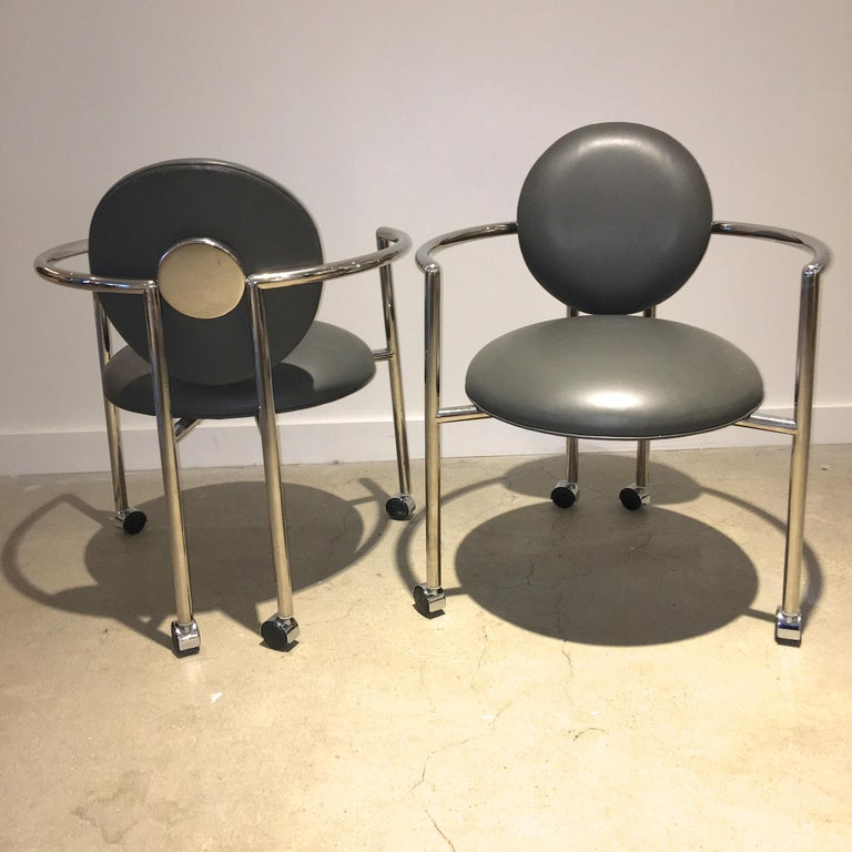 American Pair of Moon Chairs by Stanley Jay Friedman for Brueton For Sale