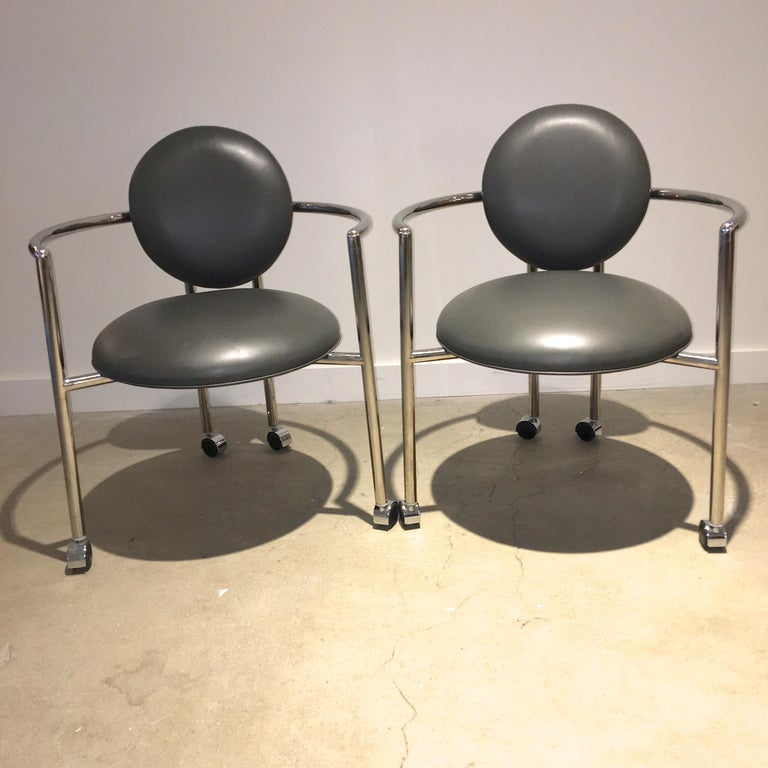 Polished Pair of Moon Chairs by Stanley Jay Friedman for Brueton For Sale