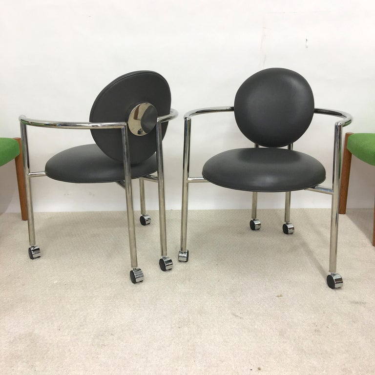Pair of Moon Chairs by Stanley Jay Friedman for Brueton In Good Condition For Sale In Hingham, MA