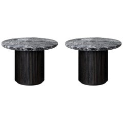 Pair of Moon Lounge Tables, Round, Marble Top