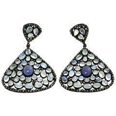 Pair of Moonstone, Tanzanite and Black Diamonds PIerced Dangle Earrings.