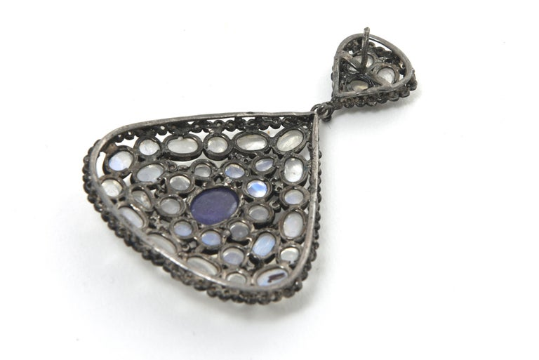 Pair of Moonstone, Tanzanite, Black Diamonds PIerced Dangle Earrings.  For Sale 5