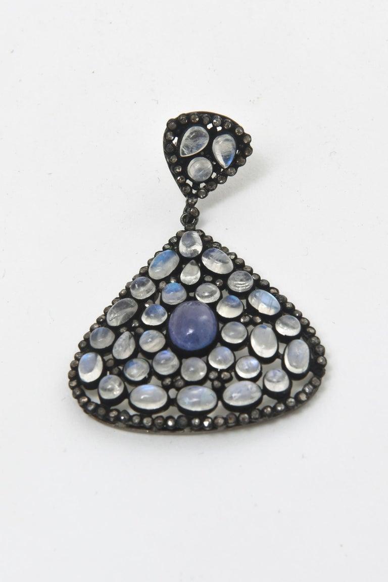 Pair of Moonstone, Tanzanite, Black Diamonds PIerced Dangle Earrings.  In Good Condition For Sale In North Miami, FL