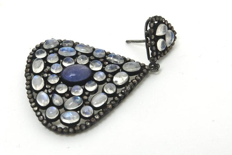 Women's Pair of Moonstone, Tanzanite, Black Diamonds PIerced Dangle Earrings.  For Sale