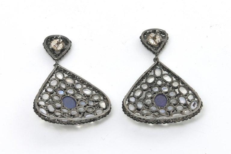 Pair of Moonstone, Tanzanite, Black Diamonds PIerced Dangle Earrings.  For Sale 2
