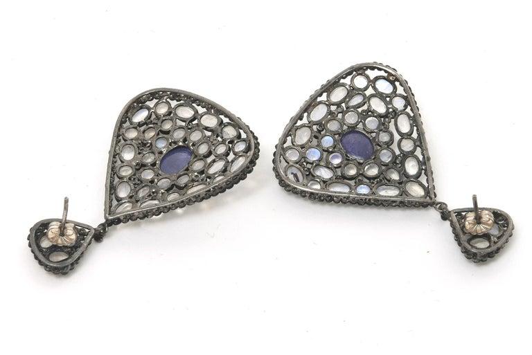 Pair of Moonstone, Tanzanite, Black Diamonds PIerced Dangle Earrings.  For Sale 3