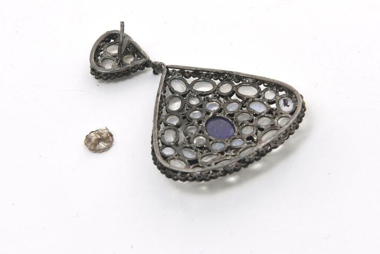 Pair of Moonstone, Tanzanite, Black Diamonds PIerced Dangle Earrings.  For Sale 4