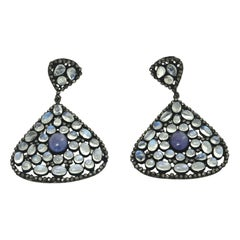 Pair of Moonstone, Tanzanite, Black Diamonds PIerced Dangle Earrings.