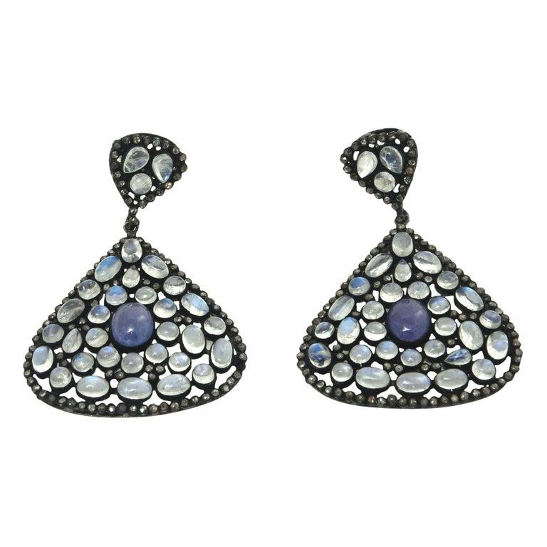 Pair of Moonstone, Tanzanite, Black Diamonds PIerced Dangle Earrings.  For Sale