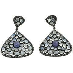 Pair of Moonstone, Tanzinite and Black Diamond Dangle Pierced Earrings