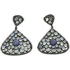 Pair of Moonstone, Tanzinite and Black Diamond Dangle Pierced Earrings