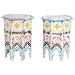 Pair of Moorish Hand Painted Pedestal Tables