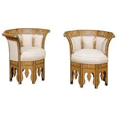 Pair of Moorish Style Wraparound Back Armchairs with Geometric Inlaid Decor