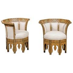 Pair of Moorish Style Wraparound Back Armchairs with Geometric Inlaid Décor