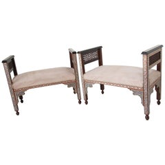 Pair of Moorish Syrian Benches Inlaid with Mother of Pearl