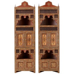 Pair of Moorish Syrian Style Inlaid Corner Cabinets