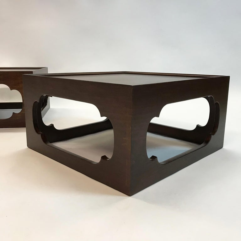Mid-Century Modern Pair of Moroccan Arabesque Mahogany Cut-Out End Tables For Sale