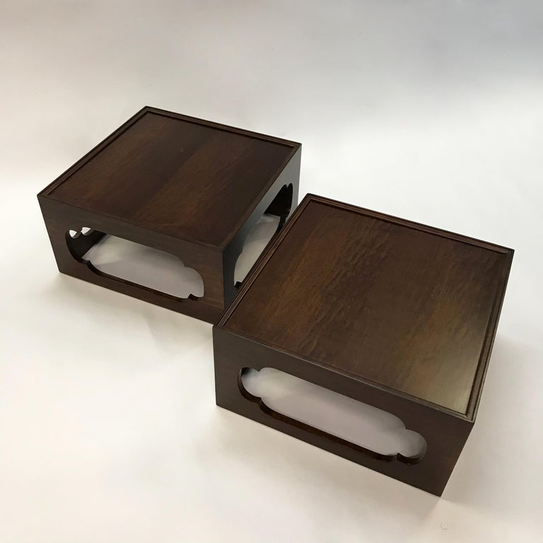 Pair of Moroccan Arabesque Mahogany Cut-Out End Tables In Excellent Condition For Sale In Brooklyn, NY