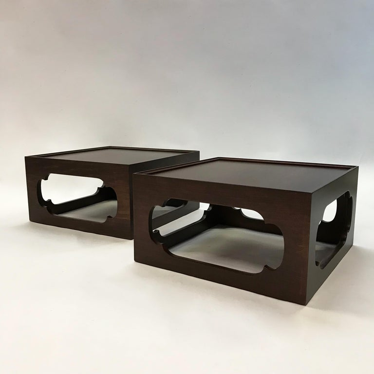 20th Century Pair of Moroccan Arabesque Mahogany Cut-Out End Tables For Sale