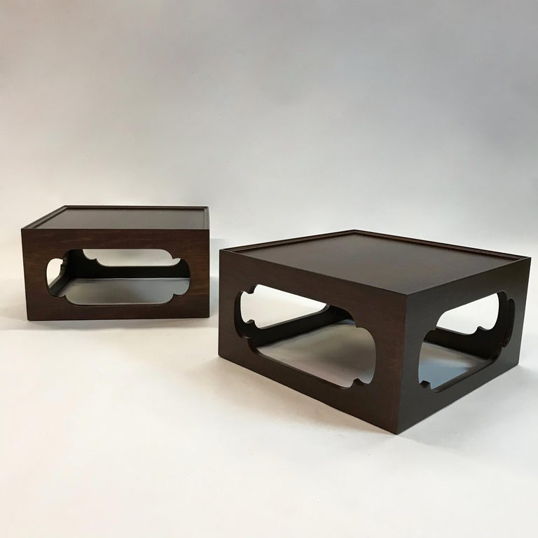 Pair of Moroccan Arabesque Mahogany Cut-Out End Tables For Sale 2