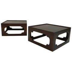 Pair of Moroccan Arabesque Mahogany Cut-Out End Tables