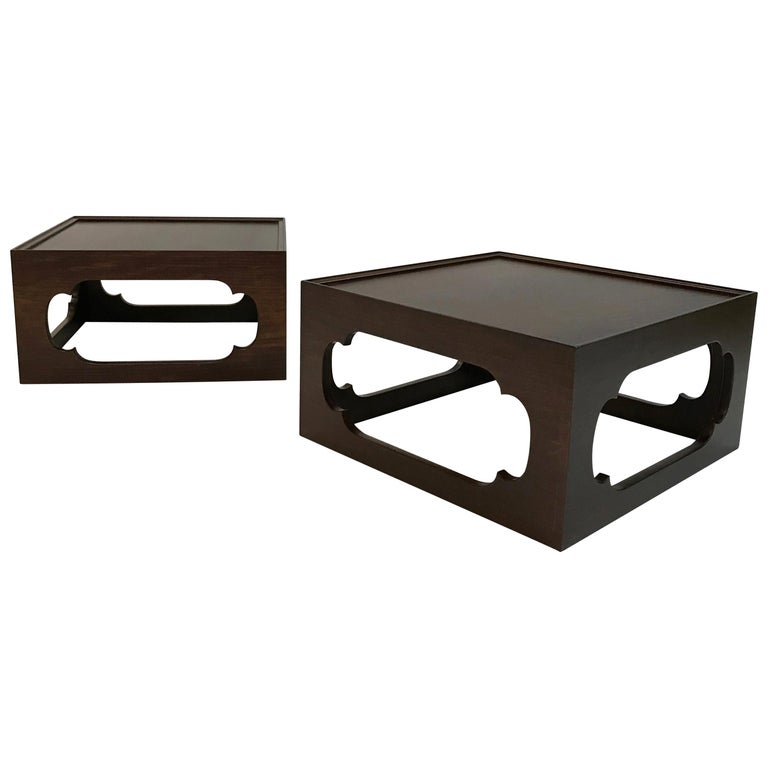 Pair of Moroccan Arabesque Mahogany Cut-Out End Tables For Sale