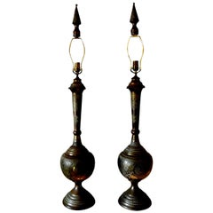 Pair of Moroccan Arabesque Style Incised Brass Lamps