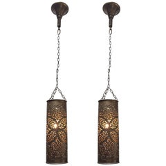 Pair of Moroccan Brass Pendants Lights with Moorish Filigree Designs
