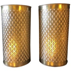 Pair of Moroccan Brass Wall Lanterns / Sconces