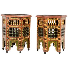 Pair of Moroccan Carved and Painted Side Tables