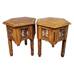 Pair of Moroccan or Mozarabe Carved Side Tables from the 20th Century