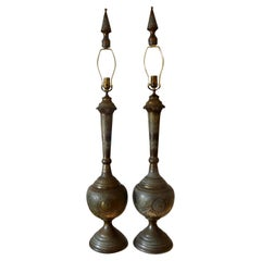 Pair of Moroccan Embossed Brass Lamps