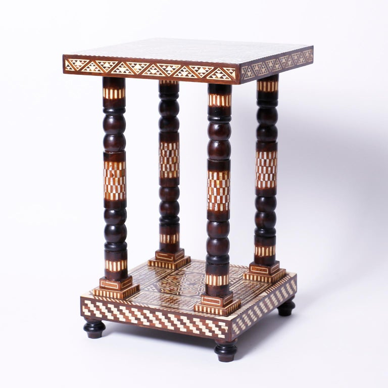 Moorish Pair of Moroccan End Tables or Stands For Sale