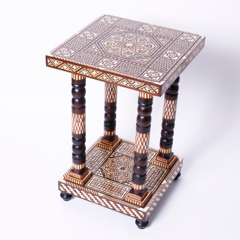 Inlay Pair of Moroccan End Tables or Stands For Sale