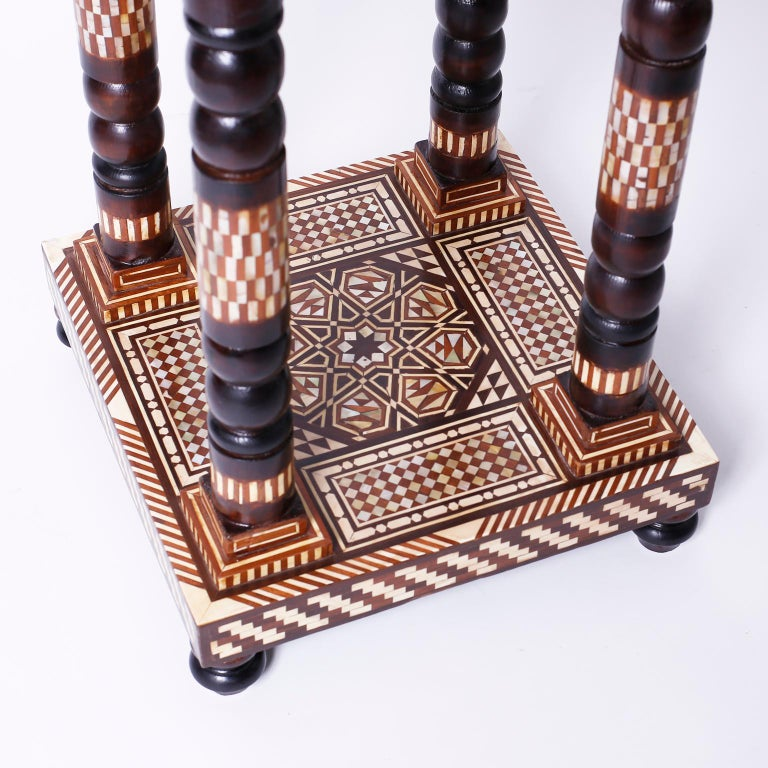 Bone Pair of Moroccan End Tables or Stands For Sale