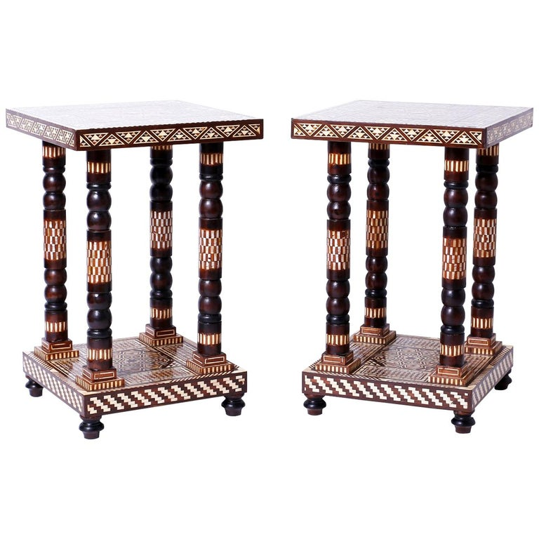 Pair of Moroccan End Tables or Stands For Sale