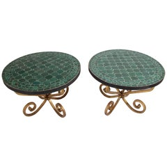 Pair of Moroccan Fez Mosaic Tile Side Tables in Emerald Green