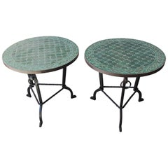 Pair of Moroccan Fez Mosaic Tile Tables in Emerald Green