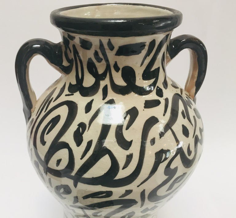 Pair of Moorish Glazed Ceramic Urns with Arabic Calligraphy from Fez For Sale 12