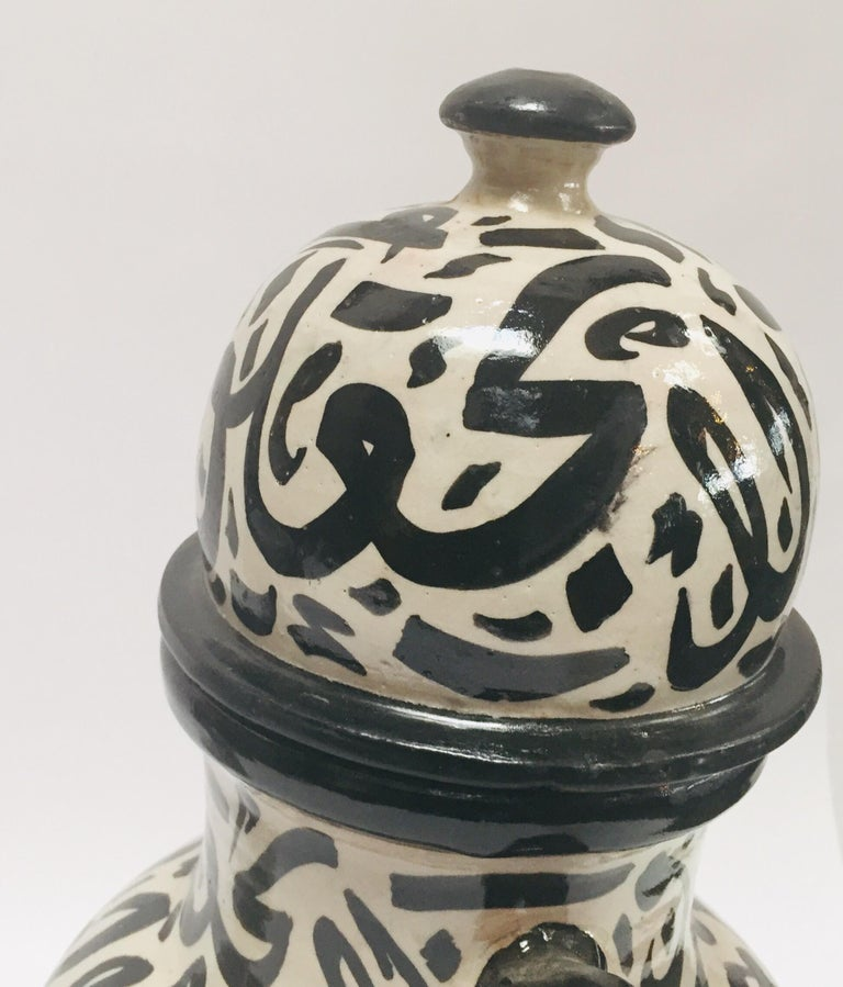 Pair of Moorish Glazed Ceramic Urns with Arabic Calligraphy from Fez For Sale 1
