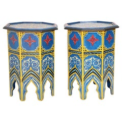Pair of Moroccan Hand Painted Blue Tables
